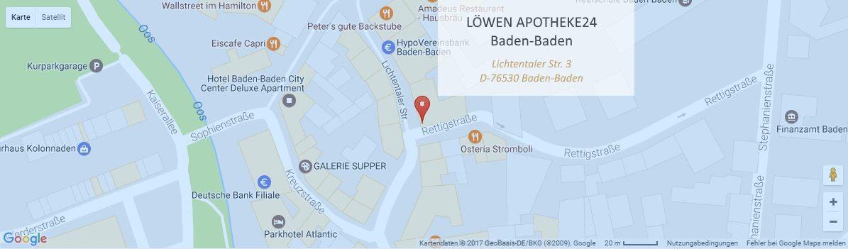 Map Kontakt - Löwen Apotheke24, Baden-Baden, Online-Shop