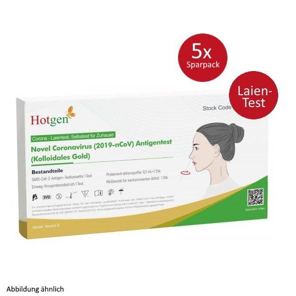 Hotgen-Antigen-Schnelltest-SARS-Covid-19-Laientest als Set 5x 1 Stück